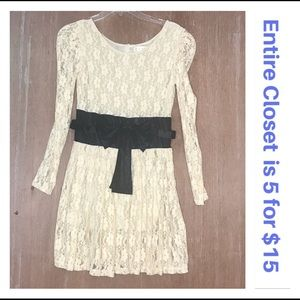 Dresses & Skirts - Cream Lace Empire Waist Black Bow Dress